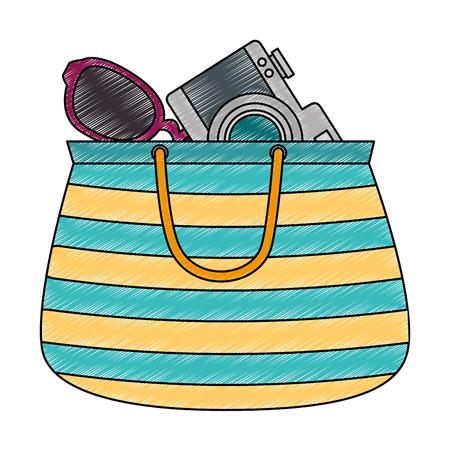 handbag female with camera and sunglasses vector illustration design Ilustração
