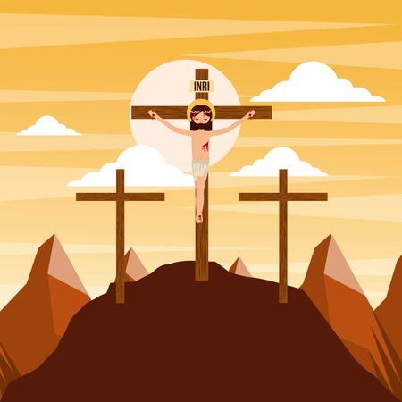 crucifixion of jesus christ three crosses at sunset vector illustration Stock Vector - 93725220