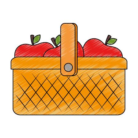 plastic basket picnic with apples vector illustration design 矢量图像