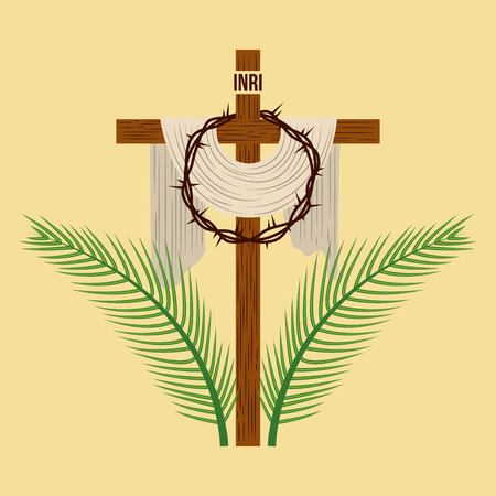 religious cross crown and palm branches vector illustration Vettoriali