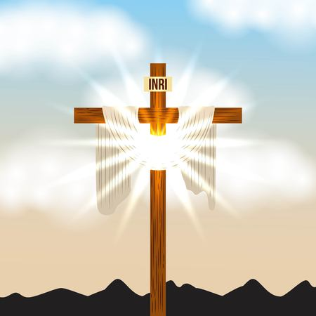 cross inri and bright light sky radiant vector illustration Çizim