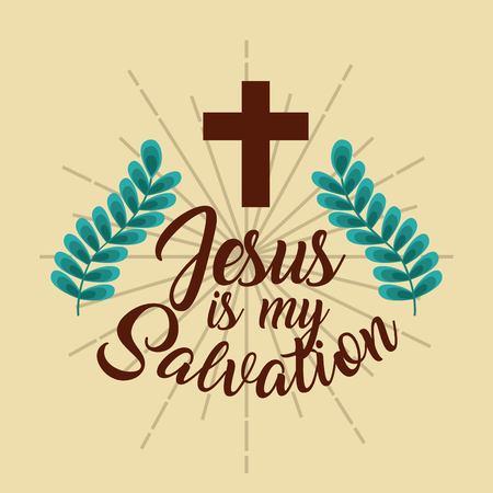 Jezus is mijn redding kruis takken poster vectorillustratie