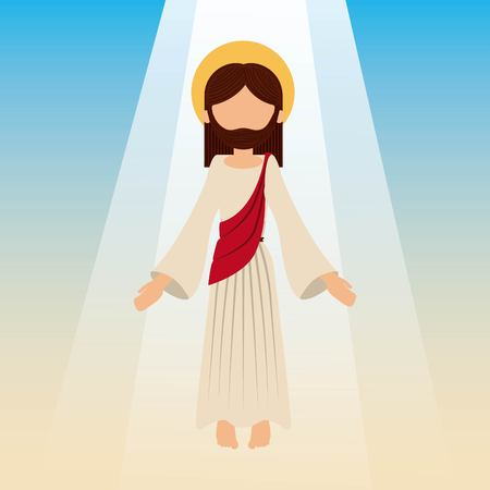 the ascension of jesus christ with blue sky vector illustration Stock Illustratie