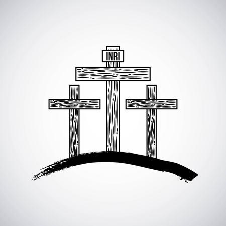 montagna disegnata a mano con tre croci cattolica simbolo illustrazione vettoriale