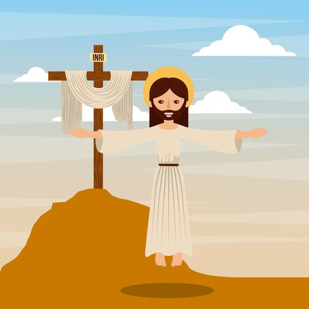the ascension jesus christ cross christianity vector illustration