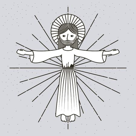 手描きのアセンションイエス・キリスト イメージベクトルイラスト  イラスト・ベクター素材