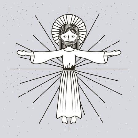 hand drawn ascension jesus christ image vector illustration