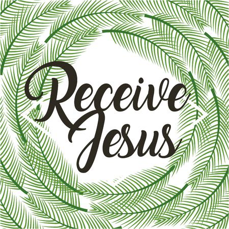 receive jesus poster religious branches palm frame vector illustration Ilustracja