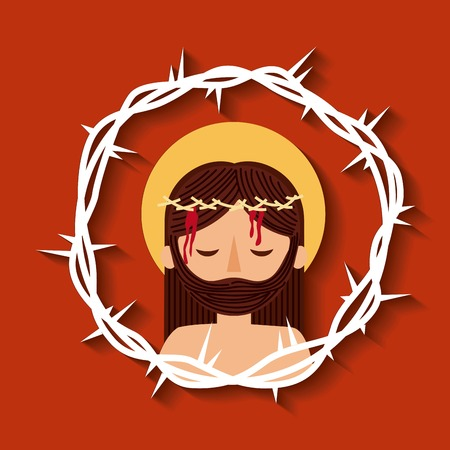 jesus christ with crown thorns sacred image vector illustration Imagens - 93725317