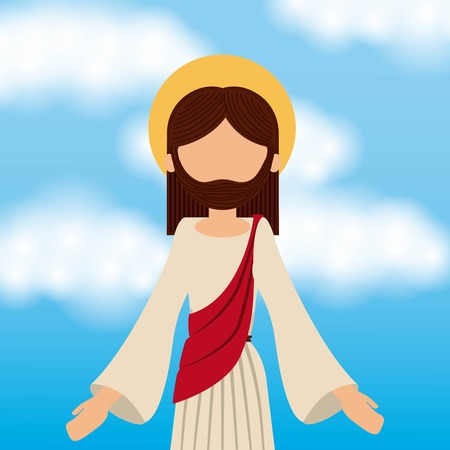 jesus christ ascension sky background vector illustration