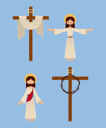set of icons christianity religious symbol vector illustration