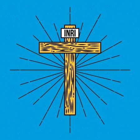 wooden hand drawn cross inri text vector illustration