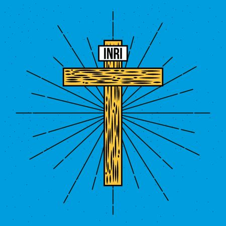 wooden hand drawn cross inri text vector illustration