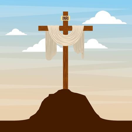 sacred cross in hill sky catholic religion design vector illustration