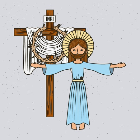 cartoon jesus christ ascension cross and crown thorns vector illustration
