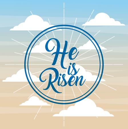 he is risen faith catholic poster sky background vector illustration Illustration