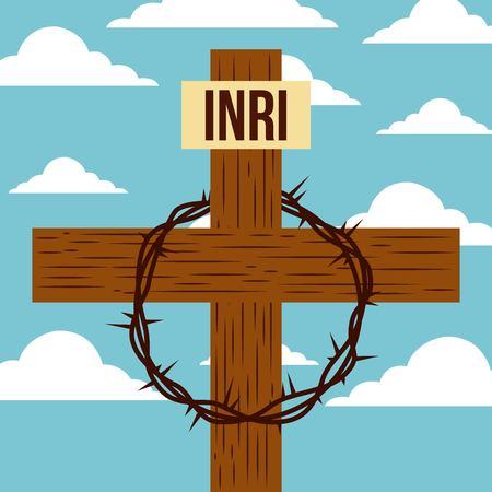 goede vrijdag Jezus kruis doornen vector illustratie Stock Illustratie