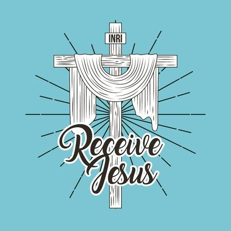 receive jesus sacred cross religion symbol vector illustration