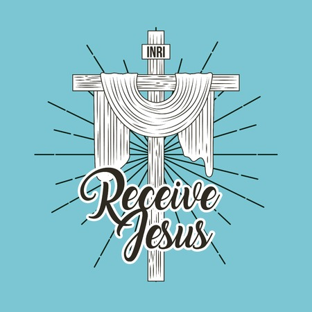 receive jesus sacred cross religion symbol vector illustration