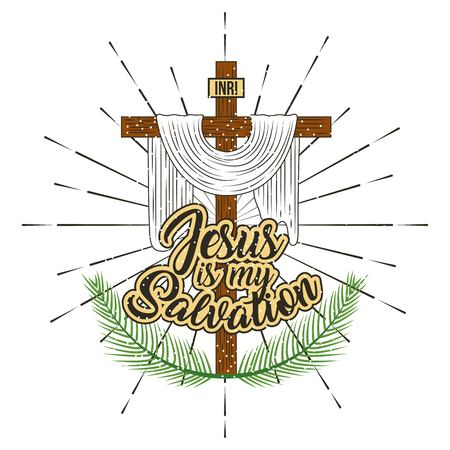jesus is my salvation cross and branches palm vector illustration