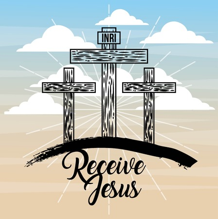 receive jesus three cross sky light catholicism vector illustration