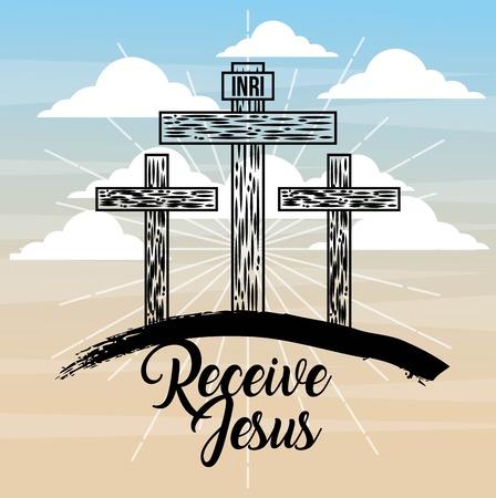 receive jesus three cross sky light catholicism vector illustration
