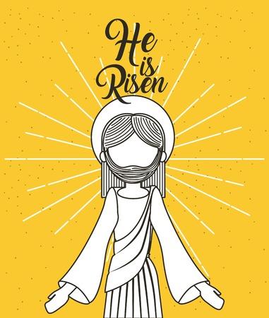he is risen jesus christ religious poster vector illustration Ilustrace