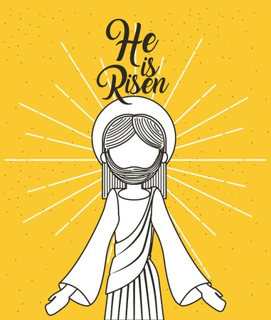 he is risen jesus christ religious poster vector illustration Illustration