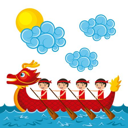 chinese people paddling red dragon boat vector illustration