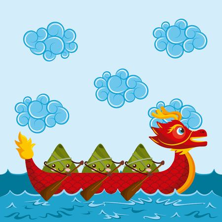 cartoon happy rice dumplings paddling red dragon boat vector illustration