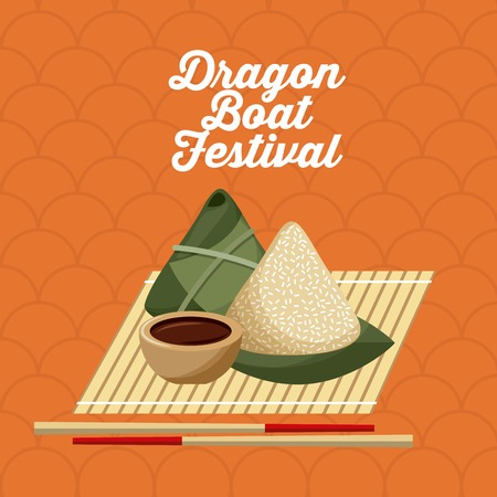 dragon boat festivel food rice dumpling and chopstick vector illustration Illustration