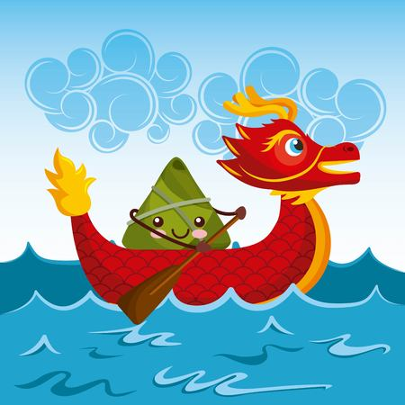 chinese rice dumplings cartoon character and dragon boat festival vector illustration Ilustrace