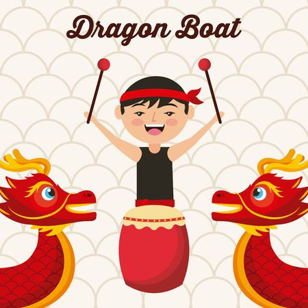 dragon boat festival chinese man drum music traditional vector illustration