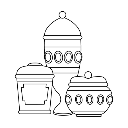 gold containers and chalice vector illustration design Illustration