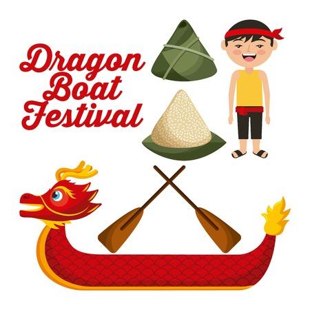 dragon boat festival chinese man rice dumpling vector illustration