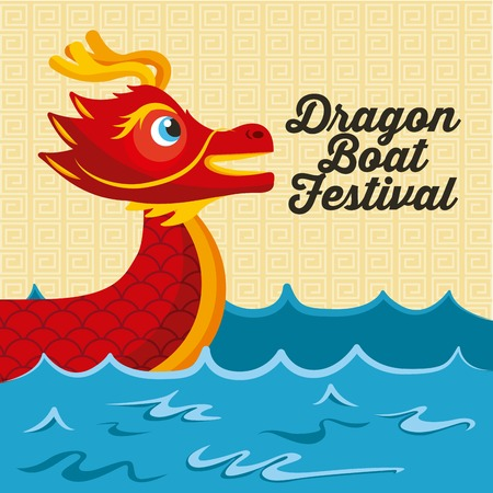 cartoon red dragon boat sea festival vector illustration