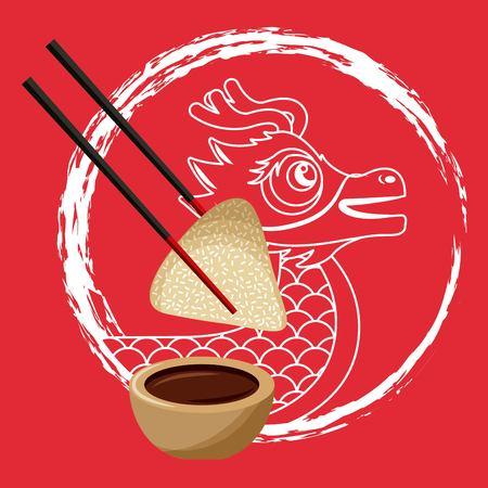 Chinese draak rijst knoedel eetstokje en saus vector illustratie