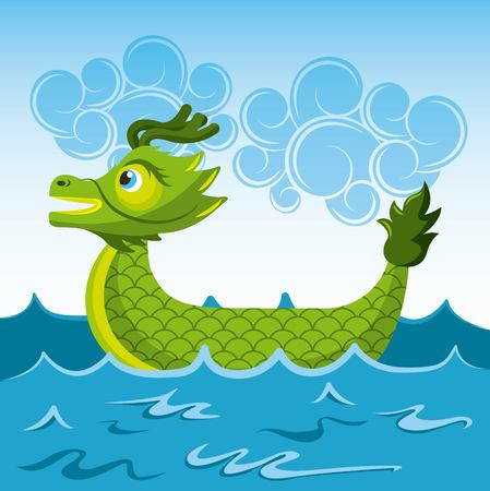 green dragon chinese boat sea cartoon vector illustration