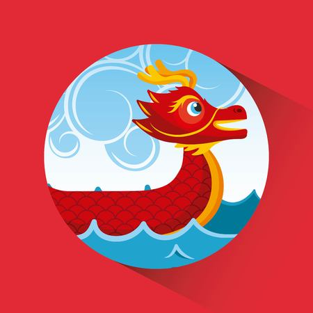 red chinese dragon boat sea and clouds button shadow vector illustration