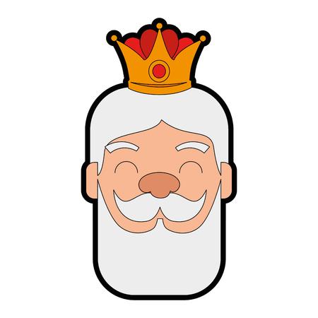 king wizard head avatar character vector illustration design