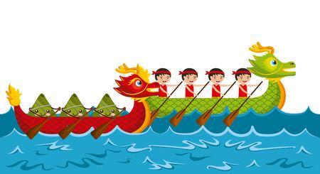 cartoon rowing team chinese rice dumpling festival vector illustration