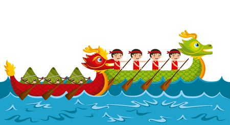 cartoon rowing team chinese rice dumpling festival vector illustration