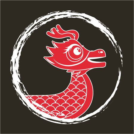 red dragon chinese animal fantasy round frame dark background vector illustration Illustration