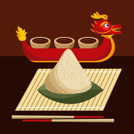 dragon boat festival food rice dumpling and sauce vector illustration