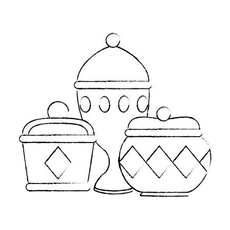 金容器とチャリスベクトルイラストデザイン  イラスト・ベクター素材