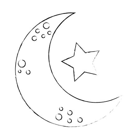 星アイコンベクトルイラストデザインの月  イラスト・ベクター素材