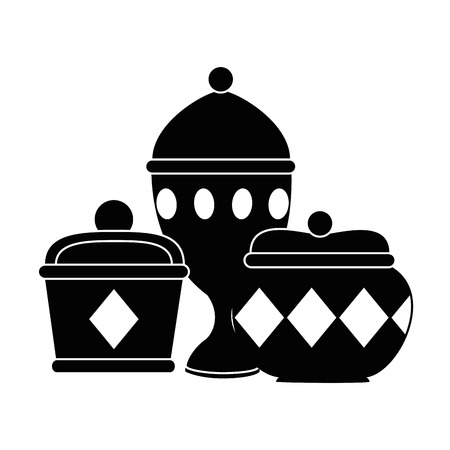 Goldbehälter und Kelchvektorillustrationsdesign