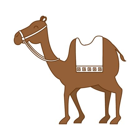 kribbe kameel karakter pictogram vector illustratie ontwerp