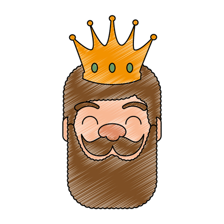 king wizard head avatar character vector illustration design