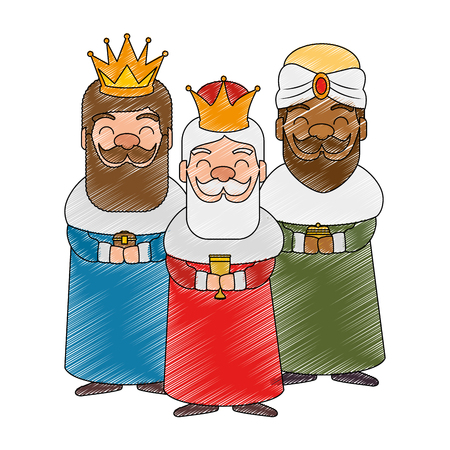 kings wizards avatars characters vector illustration design